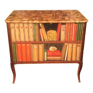 Minton Spidell Trompe l'Oeil Faux Bookcase Two Door Side Table Cabinet For Sale