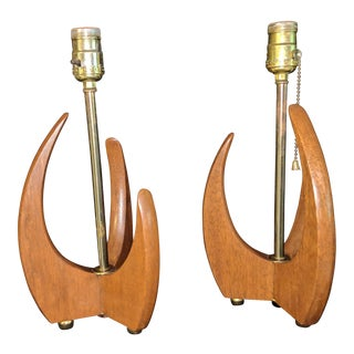Adrian Pearsall Mid Century Lamps Danish Teak Table Desk Wood - Pair For Sale