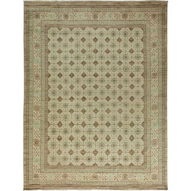"""Khotan Hand-Knotted Rug - 9' 2"""" X 11' 6"""" - Image 1 of 3"""