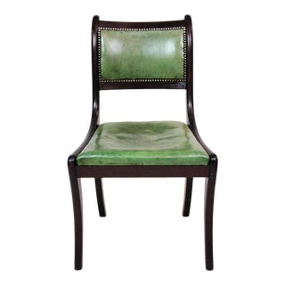 Antique English Regency Saber Leg Leather Seat Accent Chair Early 1900s For Sale