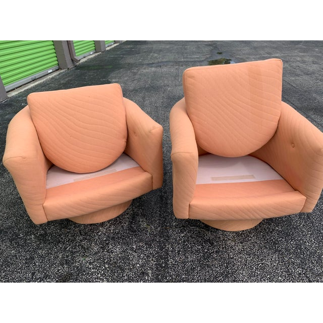 1970s Milo Baughman Style Tufted Swivel Lounge Chairs - a Pair For Sale - Image 11 of 13