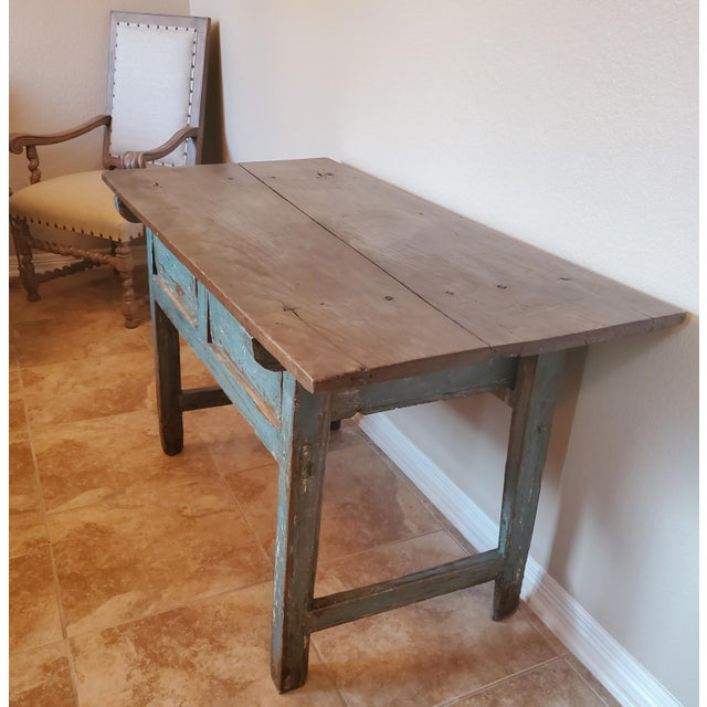 19th Century Rustic 19th Centuy Spanish Distressed Painted Table For Sale - Image 5 of 13
