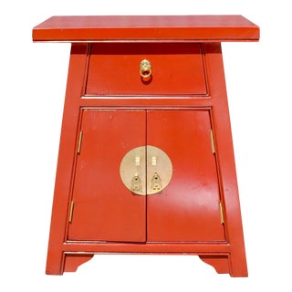 Chinese Distressed Orange Small a Shape End Table Nightstand For Sale