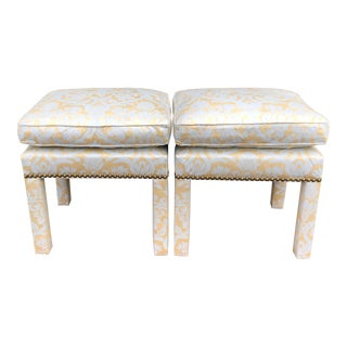 Pair of Fortuny Fully Upholstered Pillow Top Benches For Sale