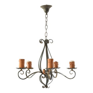 Iron French Country Chandelier For Sale