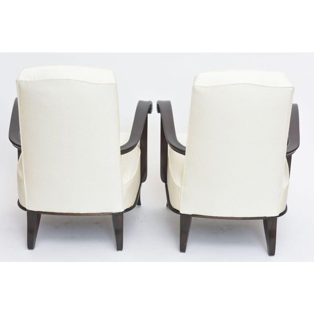 Jean Pascaud Pair of French Modern Rosewood and Upholstered Armchairs, 1940s For Sale - Image 11 of 11