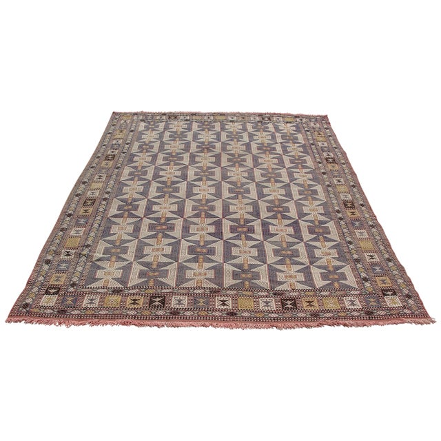 Vintage Turkish Kilim Rug - 6′5″ × 9′6″ - Image 1 of 11