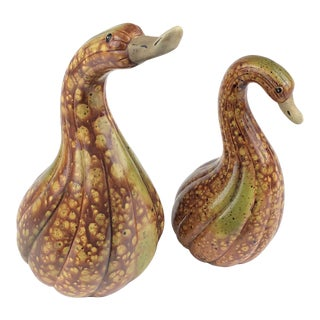 Mid Century Set of 2 Painted Pottery Gourd Shaped Swans For Sale