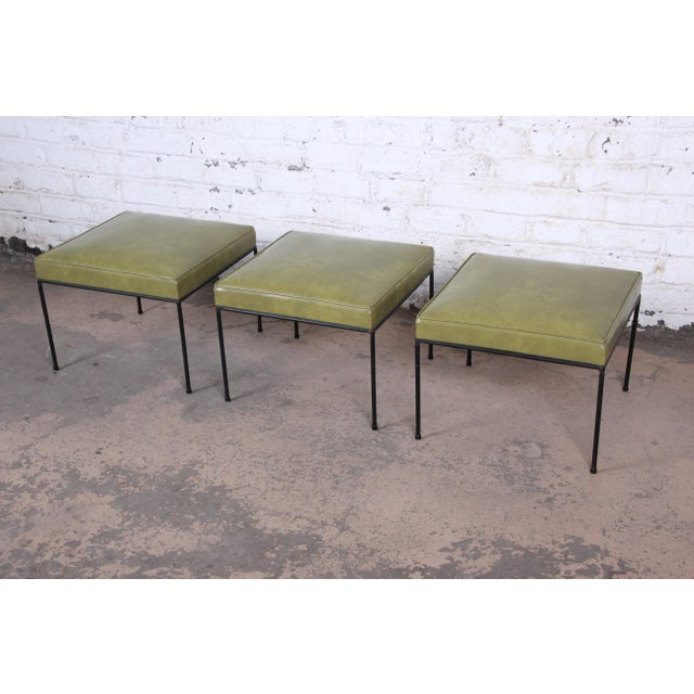 Contemporary Paul McCobb Upholstered Iron Stools or Ottomans, Set of Three For Sale - Image 3 of 12