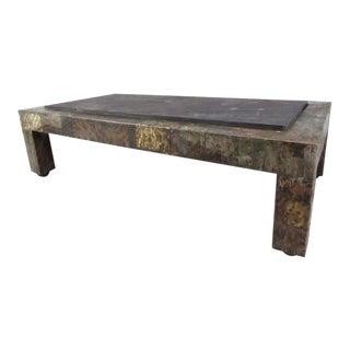 Mid-Century Slate Top Patchwork Metal Coffee Table by Paul Evans