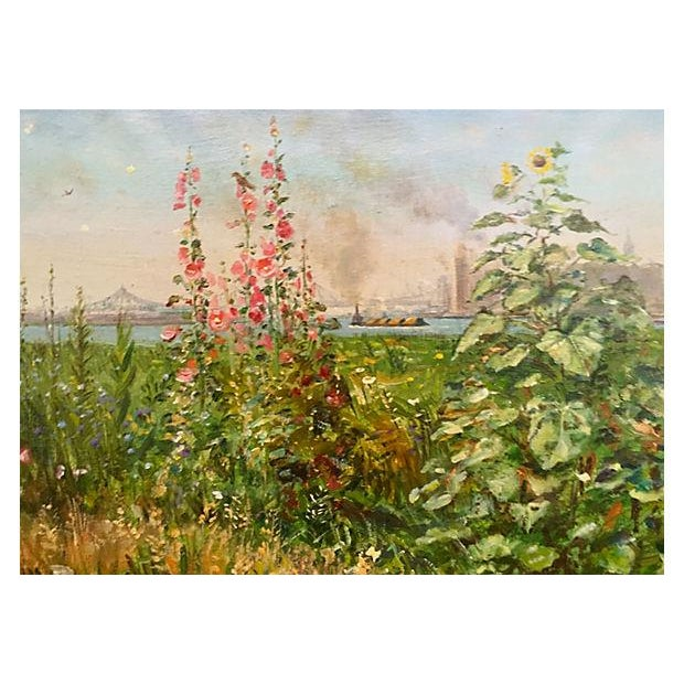 "Impressionism New York City Skyline ""Summertime at Hells Gate,"" Francis Kughler For Sale - Image 3 of 6"