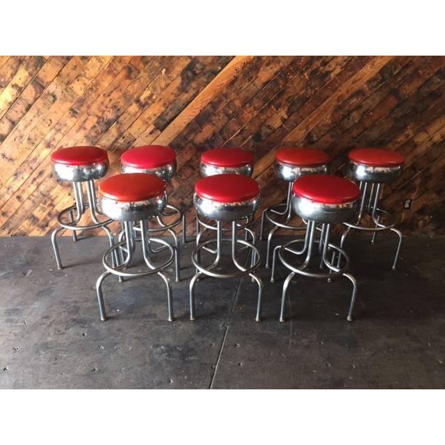 Mid-Century Chrome Diner Bar Stools- Set of 8 - Image 6 of 8