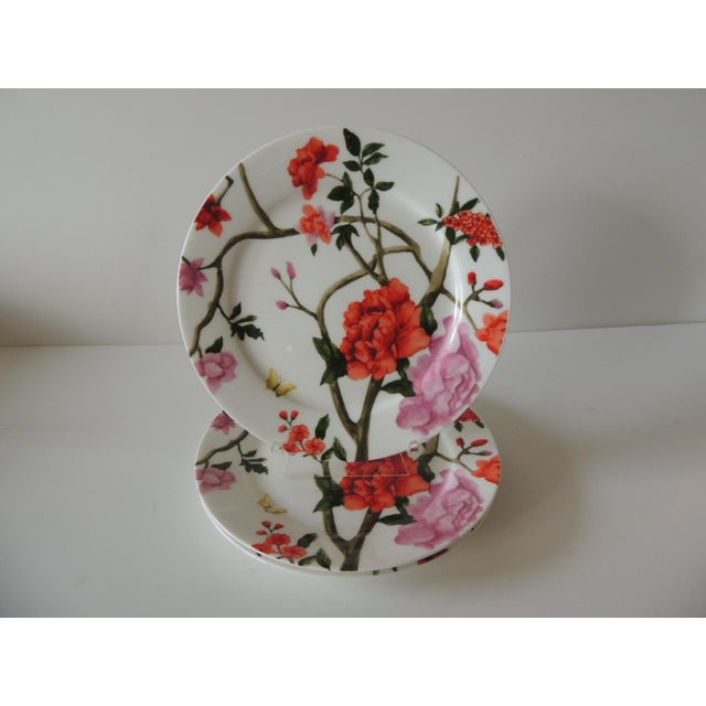 1990s Set of (3) Floral Bone China Dessert Plates For Sale - Image 5 of 5