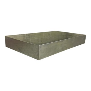 Style of Willy Rizzo Pure Design Brushed Steel Table With Lucite Lightening Base
