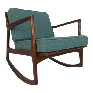 Ib Kofod Larsen for Selig Rocking Chair For Sale