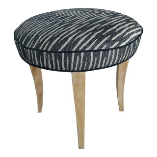 Original Mid-Century Upholstered Stool With Birch Legs