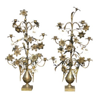 Vintage Italian French Gold Floral Tole Porcelain Candelabra Candlestick Holders - a Pair For Sale