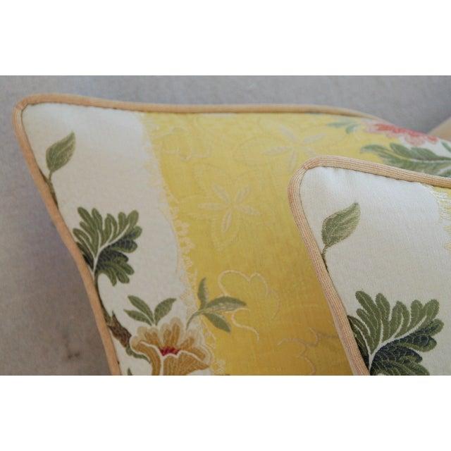 "26"" X 18"" Designer Scalamandre Silk Lampas Feather/Down Pillows - Pair - Image 7 of 10"