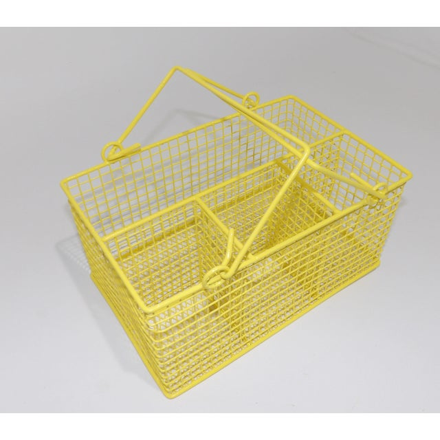Brass Electric Yellow Bathroom Toiletries Catchall Basket For Sale - Image 7 of 9