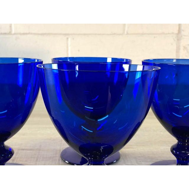 Vintage Cobalt Glass Goblets, Set of 4 For Sale - Image 4 of 7