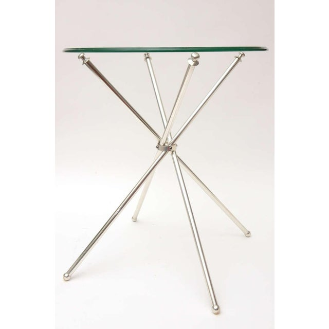 Mid-Century Modern Pair of Vintage Tripod Folding Silver-Plate Side/Drink Tables For Sale - Image 3 of 10