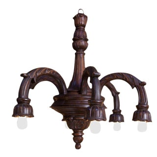 Large Victorian-Style Wood Chandelier For Sale