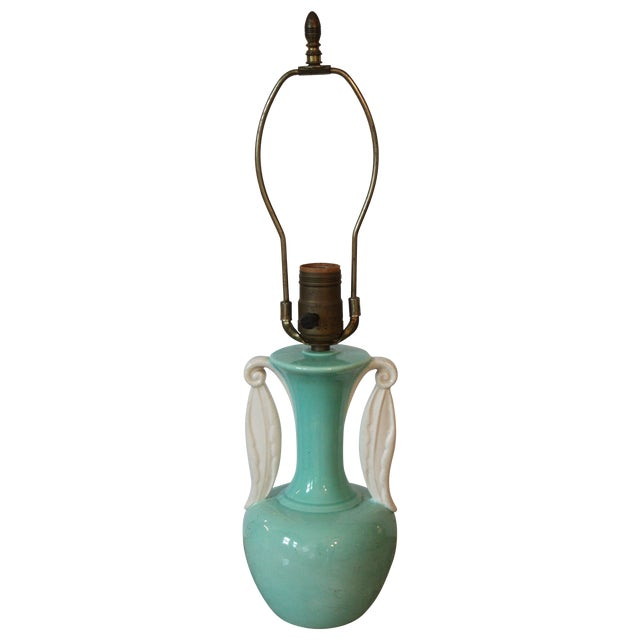 Mid-Century Turquoise Urn Lamp - Image 1 of 3