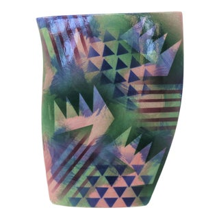 Geometric Ceramic Vase For Sale