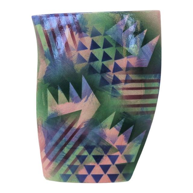Geometric Ceramic Vase For Sale