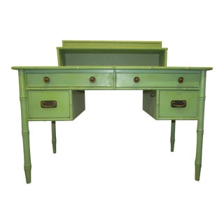 Vintage Faux Bamboo Desk in Old Green Paint & Top Shelf For Sale