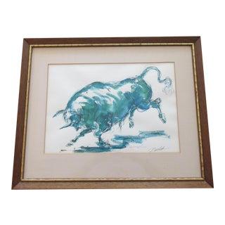 Vintage Prancing Bull Watercolor Painting by Charles Burdick For Sale