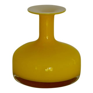 Vintage Mid-Century Blown Glass Bottle Form Vase For Sale