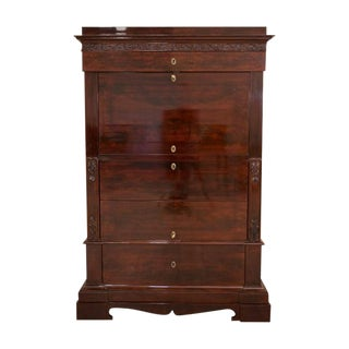 1860s Biedermeier Mahogany Secretary Desk For Sale