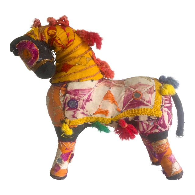 Vintage Indian Patchwork Horse Figurine For Sale