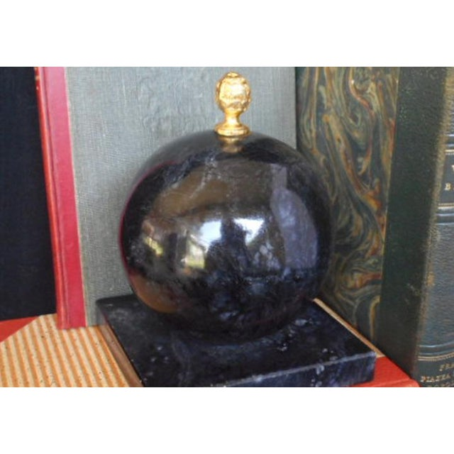 Alabaster Globe Bookend With Brass Finial - Image 3 of 7