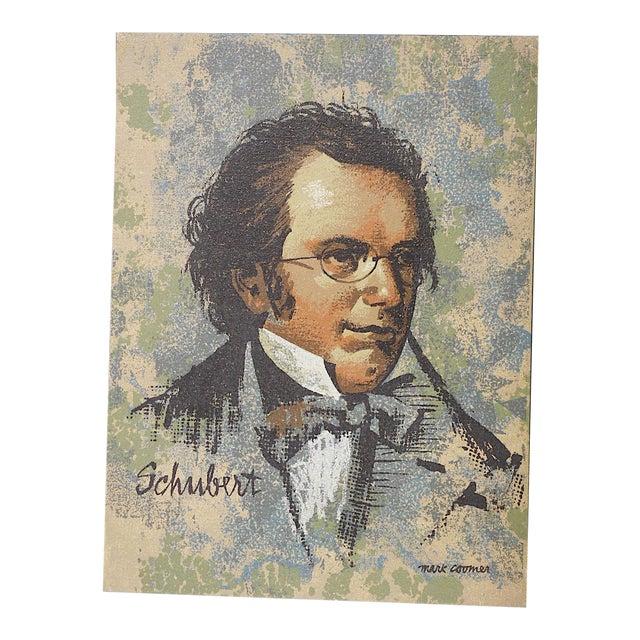 Vintage Ltd. Ed. Serigraph-Mark Coomer-Listed American Artist-Composer Franz Schubert For Sale