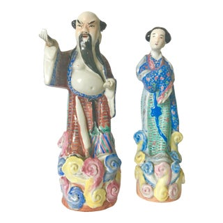 Vintage Chinoiserie Ancestral Figures - a Pair For Sale