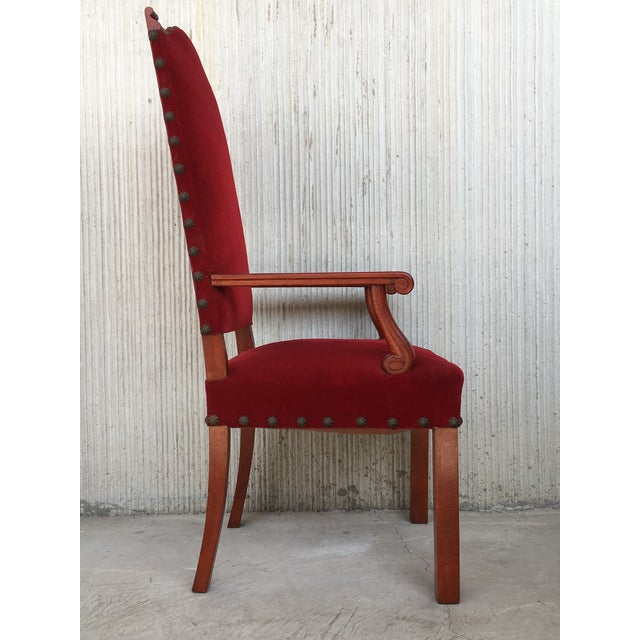 19th Century Spanish Revival High Back Armchair With Red Velvet Upholstery For Sale - Image 4 of 13