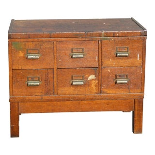 Antique Industrial Rustic Six Drawer Card Catalog File Cabinet For Sale