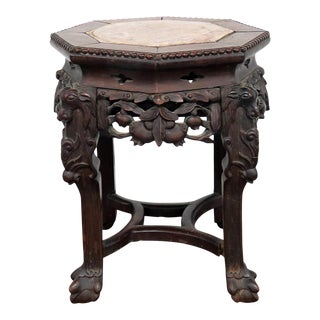 Oriental Marble Top Tabouret Stand For Sale
