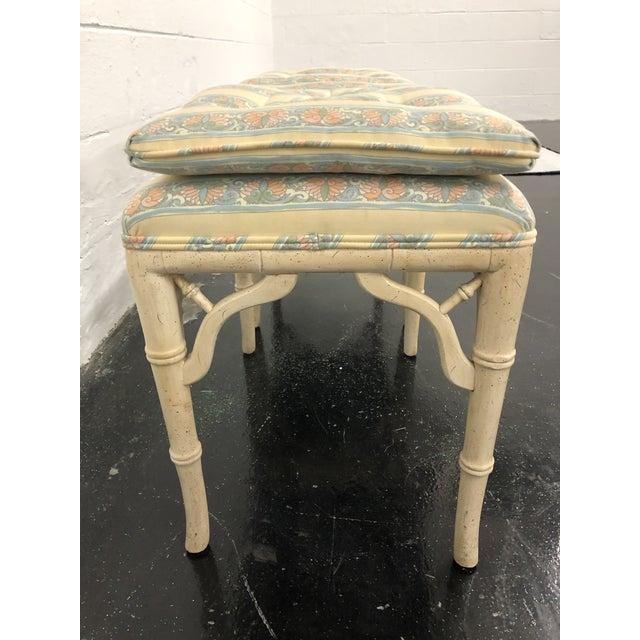 1970s Regency Style Faux Bamboo Benches - a Pair For Sale - Image 5 of 6