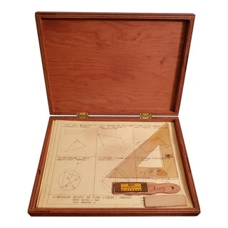 1920s American Pine Wood Drafting Box With Period Contents For Sale