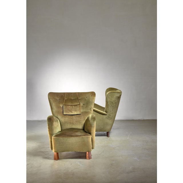 Boet Pair of Green Otto Schulz Lounge Chairs, Sweden, 1930s For Sale - Image 4 of 6