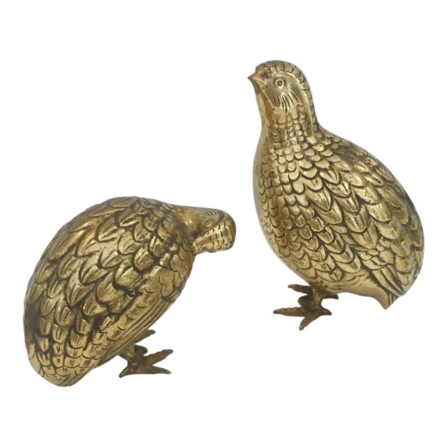 Mid-Century Japanese Brass Quails - A Pair - Image 1 of 6
