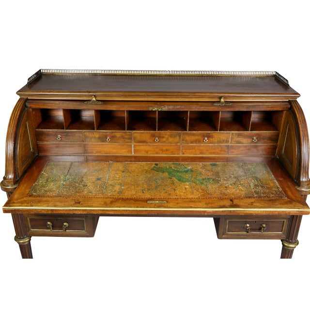 Late 19th Century Directoire Style Mahogany and Brass Mounted Cylinder Desk For Sale - Image 5 of 13