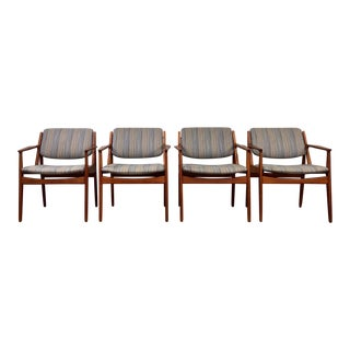 1960s Vintage Arne Vodder Danish Modern Tilt-Back Teak Dining Chairs- Set of 4 For Sale