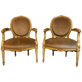 Gilt Gold Paint Decorated & Carved Louis XVI Style Armchairs or Fauteuil - a Pair For Sale
