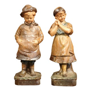 Early 20th Century French Painted Terracotta Sculptures Signed F. Citti - A Pair For Sale