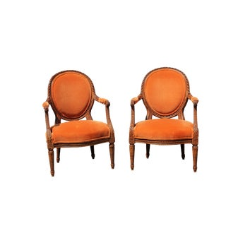 1940s French Country Orange Upholstered Arm Chairs - a Pair