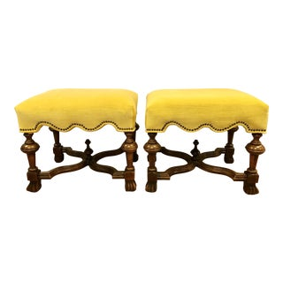 Early 20th Century English Carved Walnut and Yellow Velvet Benches- A Pair For Sale
